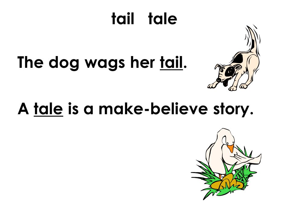 tail tale The dog wags her tail. A tale is a make-believe story.
