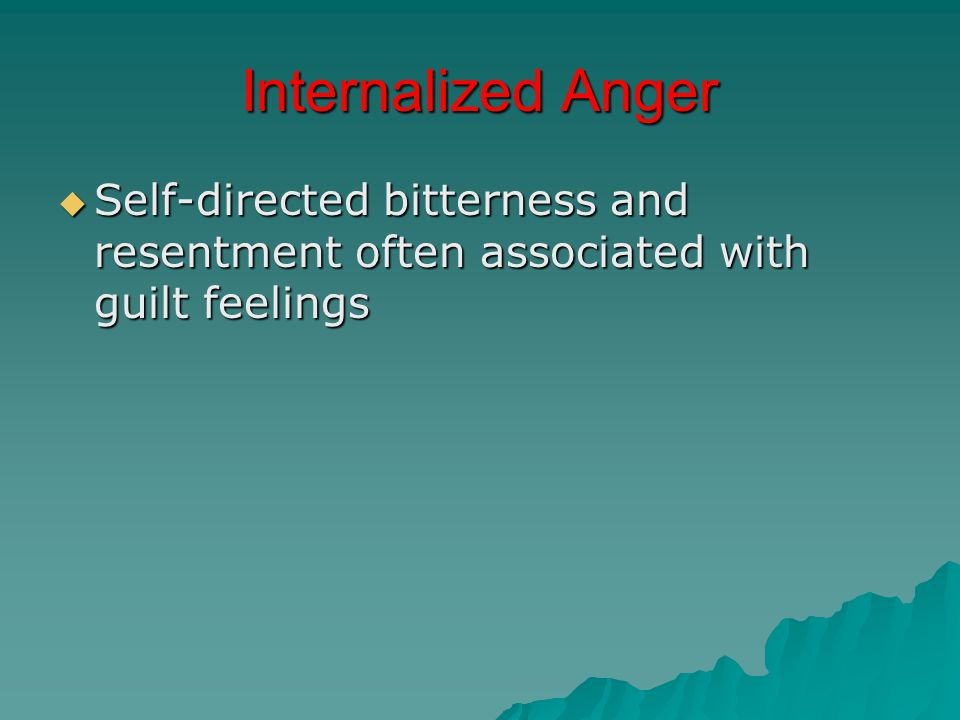 Internalized Anger  Self-directed bitterness and resentment often associated with guilt feelings