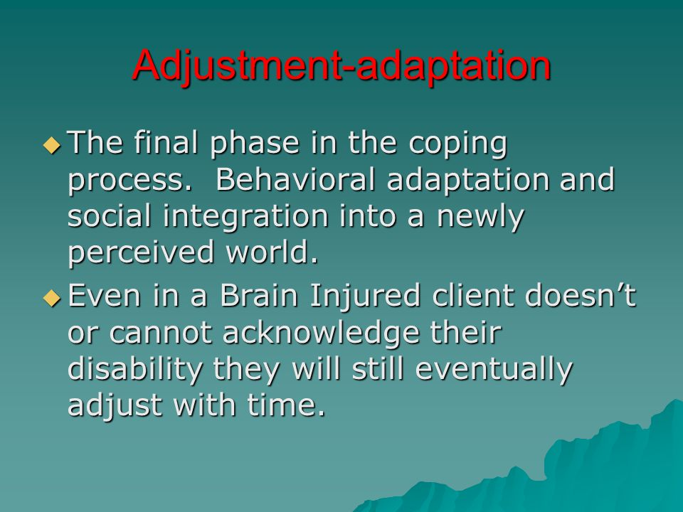 Adjustment-adaptation  The final phase in the coping process.