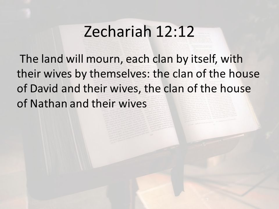 Zechariah 12:12 The land will mourn, each clan by itself, with their wives by themselves: the clan of the house of David and their wives, the clan of