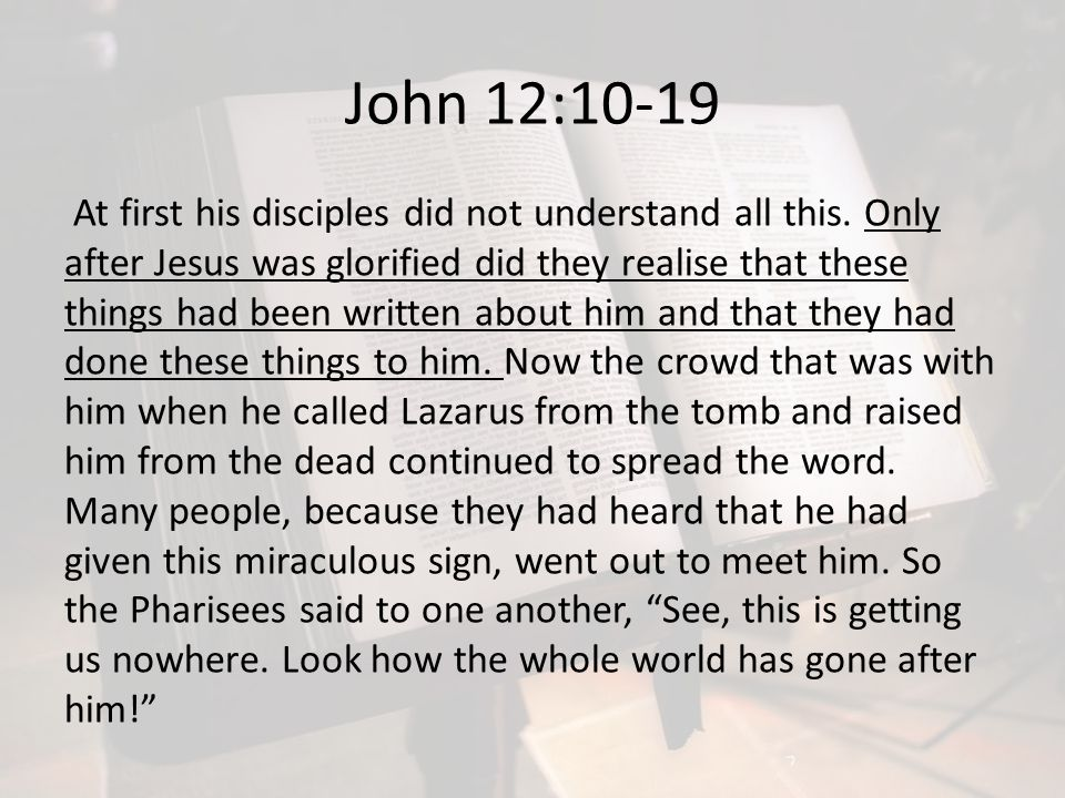 John 12:10-19 At first his disciples did not understand all this. Only after Jesus was glorified did they realise that these things had been written a