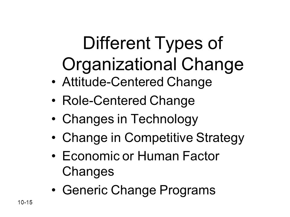 10-15 Different Types of Organizational Change Attitude-Centered Change Role-Centered Change Changes in Technology Change in Competitive Strategy Econ