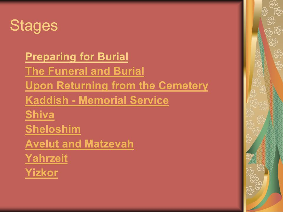 Stages Preparing for Burial The Funeral and Burial Upon Returning from the Cemetery Kaddish - Memorial Service Shiva Sheloshim Avelut and Matzevah Yahrzeit Yizkor