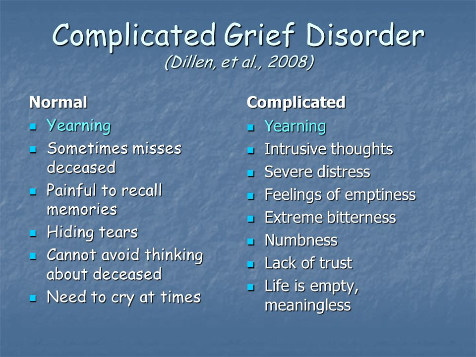Complicated Grief Disorder (Dillen, et al., 2008) Normal Yearning Yearning Sometimes misses deceased Sometimes misses deceased Painful to recall memories Painful to recall memories Hiding tears Hiding tears Cannot avoid thinking about deceased Cannot avoid thinking about deceased Need to cry at times Need to cry at times Complicated Yearning Yearning Intrusive thoughts Intrusive thoughts Severe distress Severe distress Feelings of emptiness Feelings of emptiness Extreme bitterness Extreme bitterness Numbness Numbness Lack of trust Lack of trust Life is empty, meaningless Life is empty, meaningless