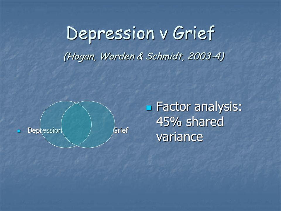 Depression v Grief (Hogan, Worden & Schmidt, 2003-4) Depression Grief Depression Grief Factor analysis: 45% shared variance Factor analysis: 45% shared variance