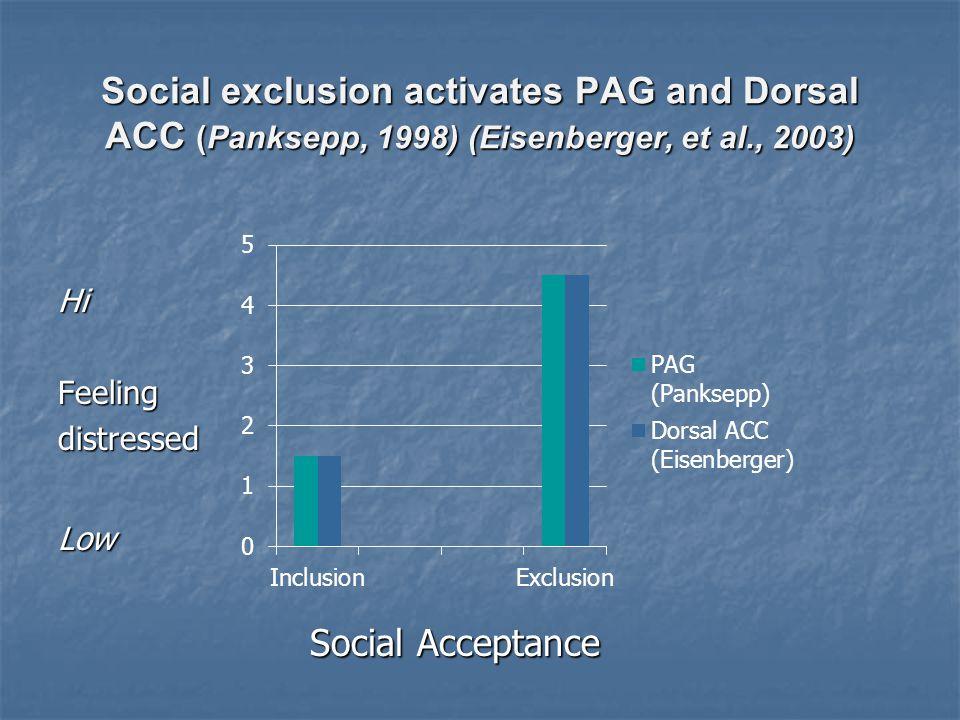 Social exclusion activates PAG and Dorsal ACC (Panksepp, 1998) (Eisenberger, et al., 2003) HiFeelingdistressedLow Social Acceptance Social Acceptance