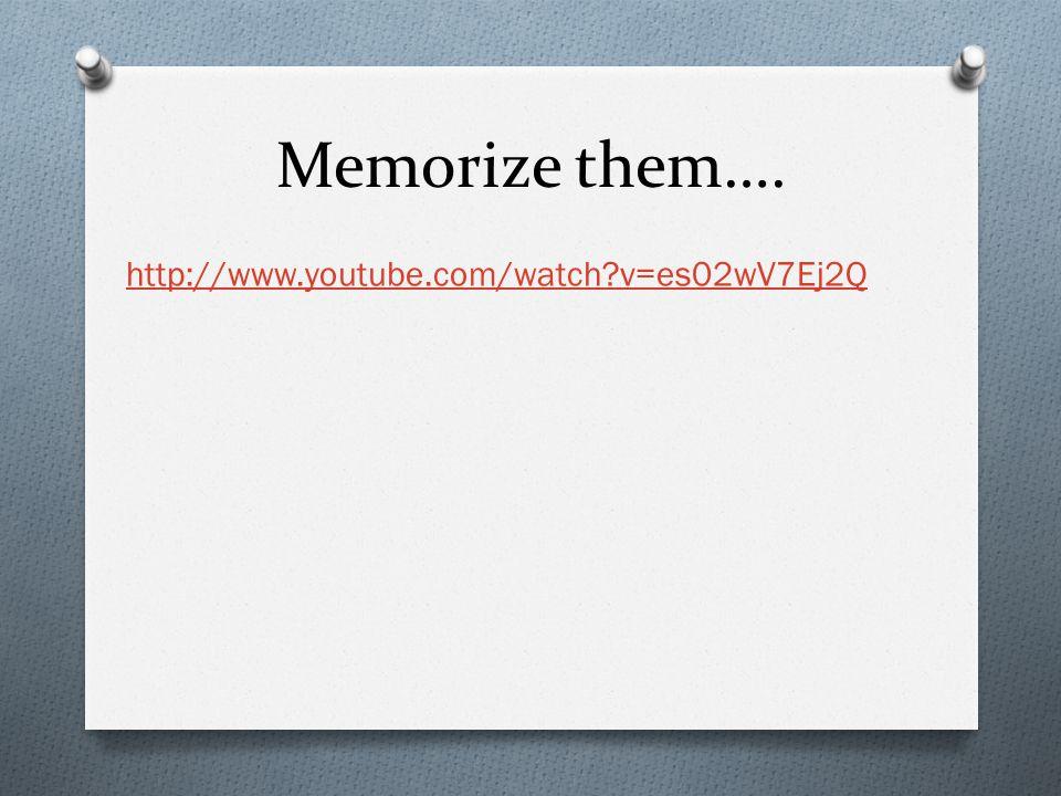 Memorize them…. http://www.youtube.com/watch?v=es02wV7Ej2Q