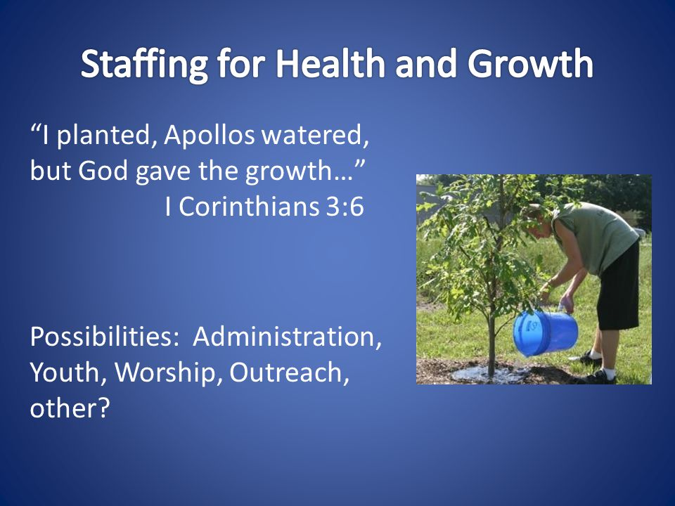 I planted, Apollos watered, but God gave the growth… I Corinthians 3:6 Possibilities: Administration, Youth, Worship, Outreach, other
