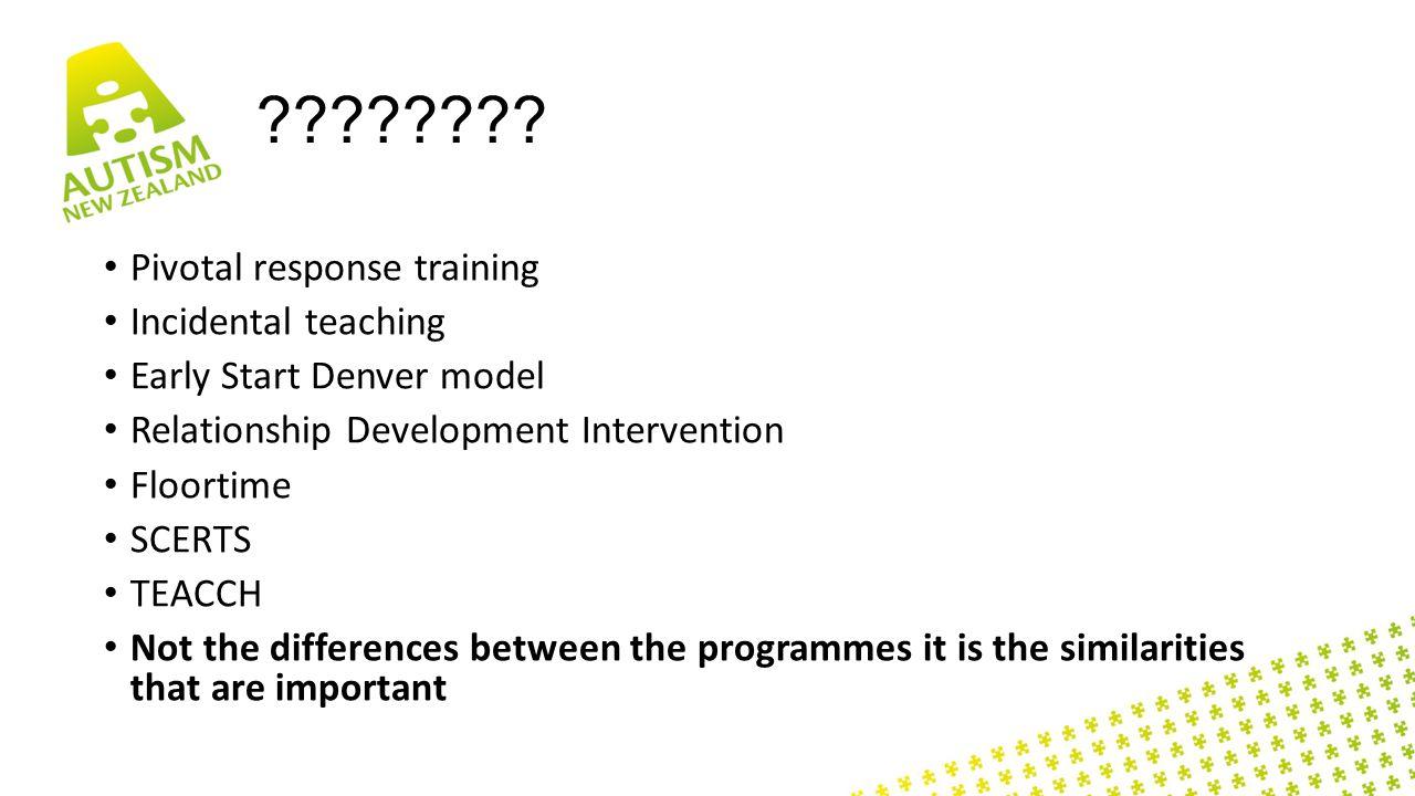 ???????? Pivotal response training Incidental teaching Early Start Denver model Relationship Development Intervention Floortime SCERTS TEACCH Not the