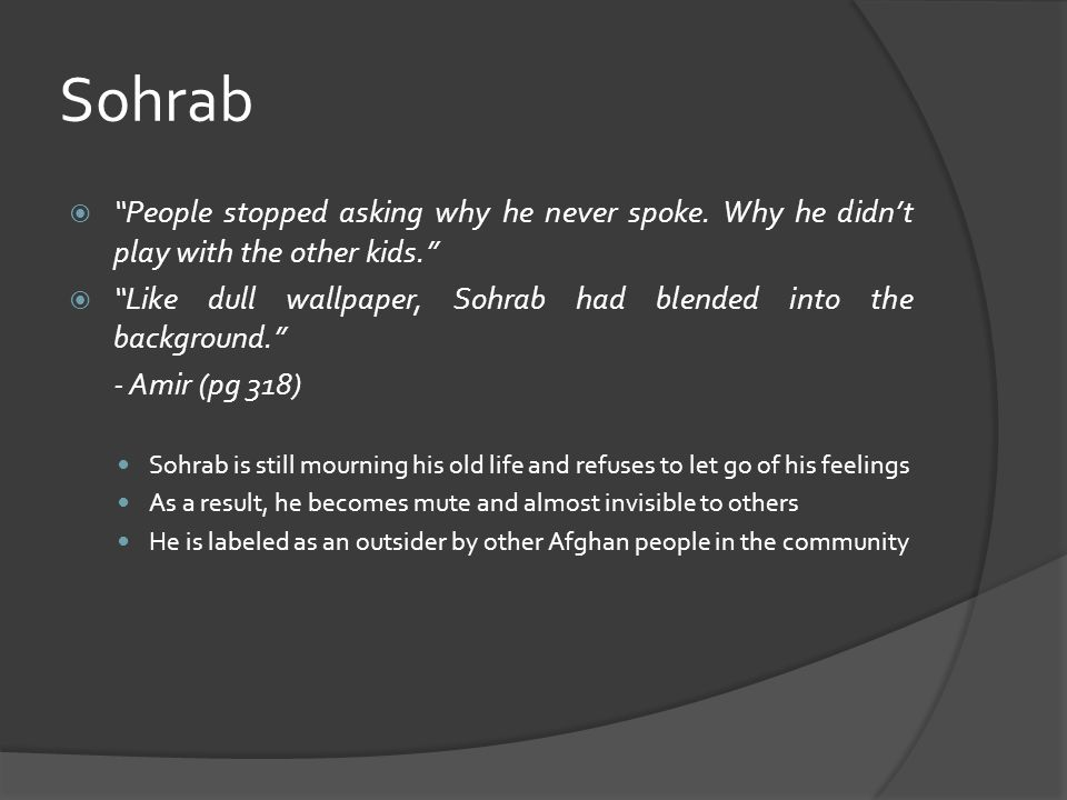 Sohrab  People stopped asking why he never spoke.