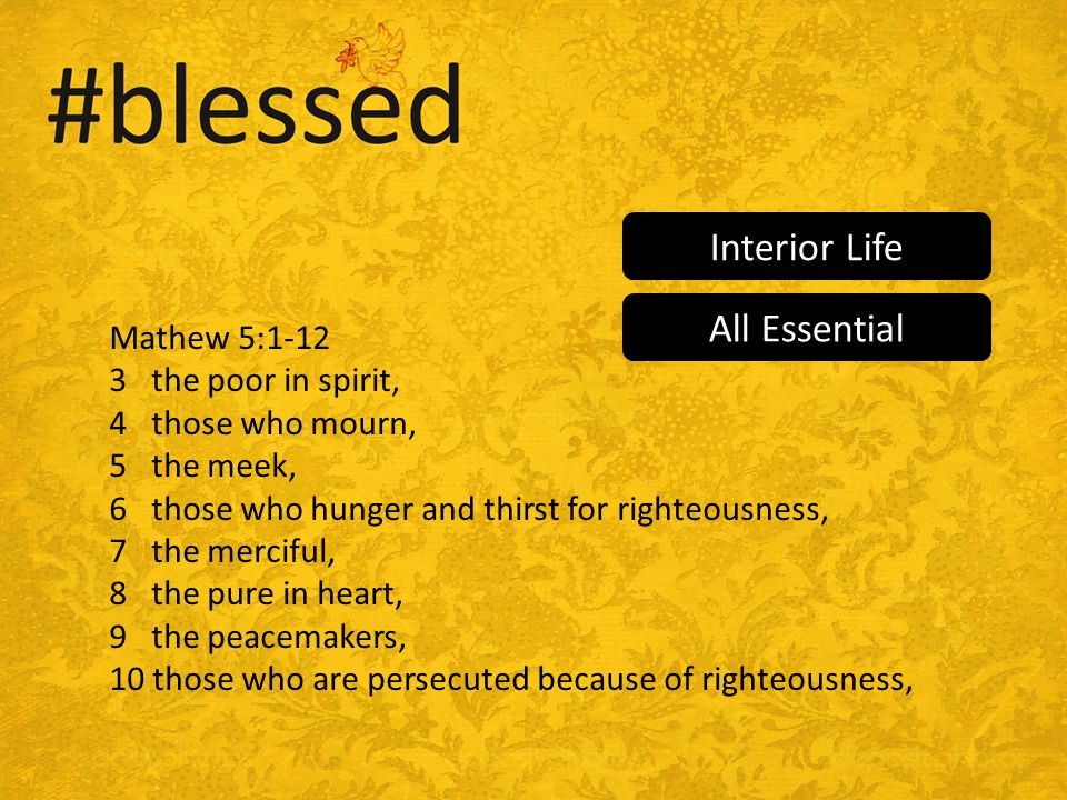Mathew 5:1-12 3 the poor in spirit, 4 those who mourn, 5 the meek, 6 those who hunger and thirst for righteousness, 7 the merciful, 8 the pure in heart, 9 the peacemakers, 10 those who are persecuted because of righteousness, Interior Life All Essential