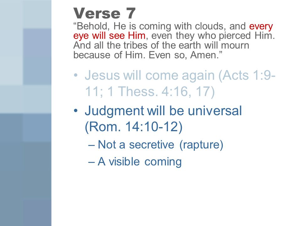 Verse 7 Behold, He is coming with clouds, and every eye will see Him, even they who pierced Him.