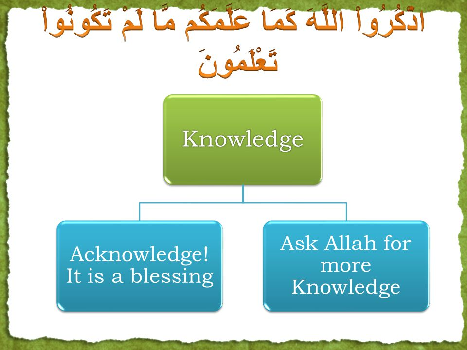So what should man do. 1. Acknowledge that this is a great blessing of Allah.