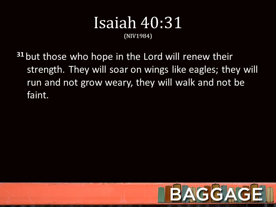 Isaiah 40:31 (NIV1984) 31 but those who hope in the Lord will renew their strength.