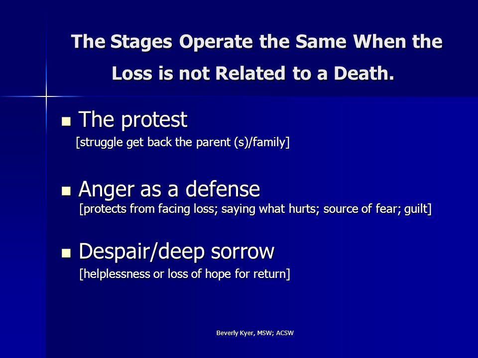 Beverly Kyer, MSW; ACSW The Stages Operate the Same When the Loss is not Related to a Death.