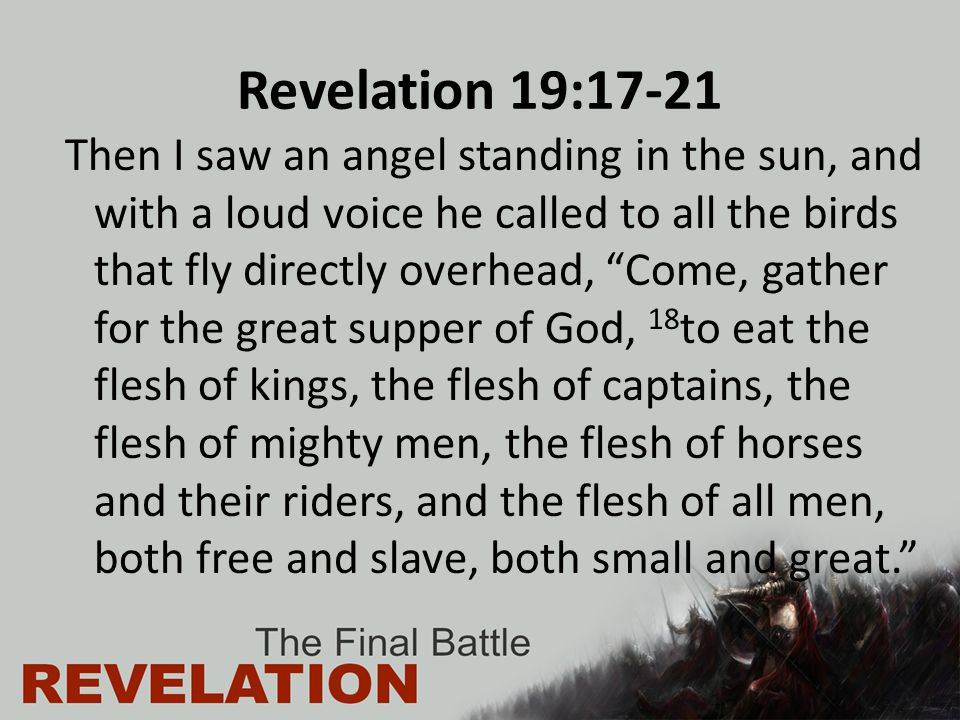 "Revelation 19:17-21 Then I saw an angel standing in the sun, and with a loud voice he called to all the birds that fly directly overhead, ""Come, gathe"
