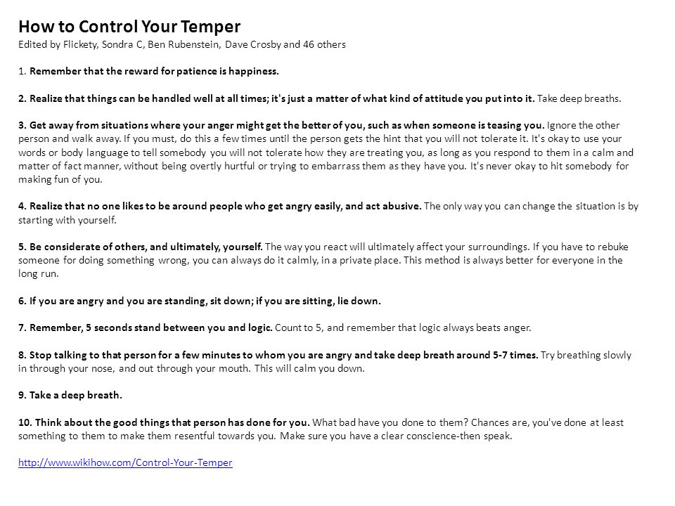 How to Control Your Temper Edited by Flickety, Sondra C, Ben Rubenstein, Dave Crosby and 46 others 1.