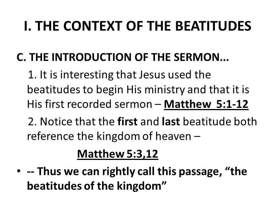 II.THE MEANING OF THE BEATITUDES The word beatitude means a state of supreme happiness .