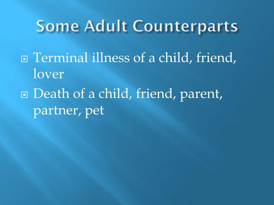  Terminal illness of a child, friend, lover  Death of a child, friend, parent, partner, pet