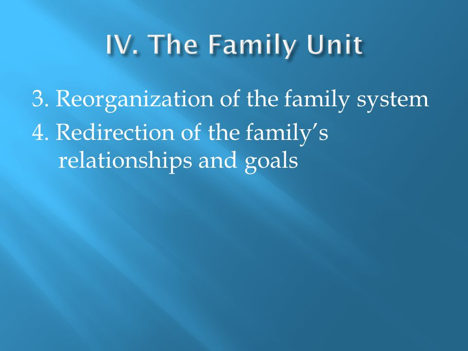 3. Reorganization of the family system 4. Redirection of the family's relationships and goals