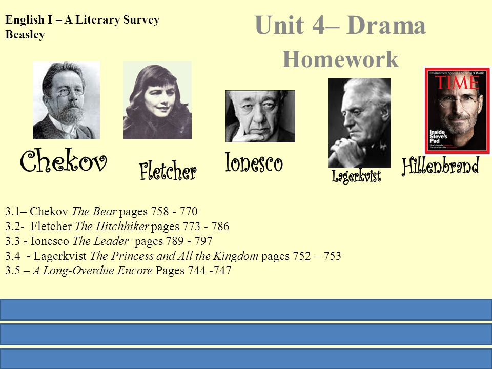 English I – A Literary Survey Beasley Unit 4– Drama Homework 3.1– Chekov The Bear pages 758 - 770 3.2- Fletcher The Hitchhiker pages 773 - 786 3.3 - Ionesco The Leader pages 789 - 797 3.4 - Lagerkvist The Princess and All the Kingdom pages 752 – 753 3.5 – A Long-Overdue Encore Pages 744 -747