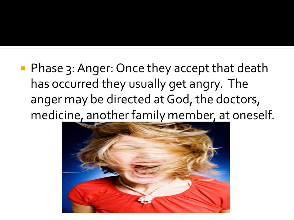  Phase 3: Anger: Once they accept that death has occurred they usually get angry.