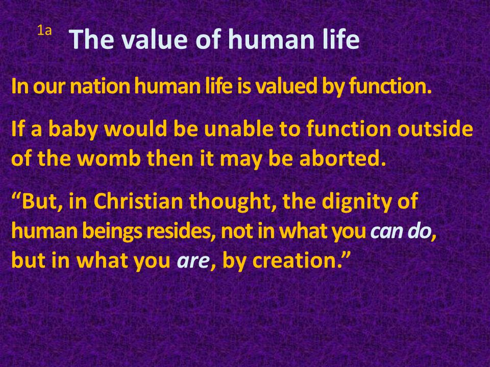 1c Pray that those who advocate arguments which rationalize away the killing unborn children would come to understand that the sanctity of human life is paramount.