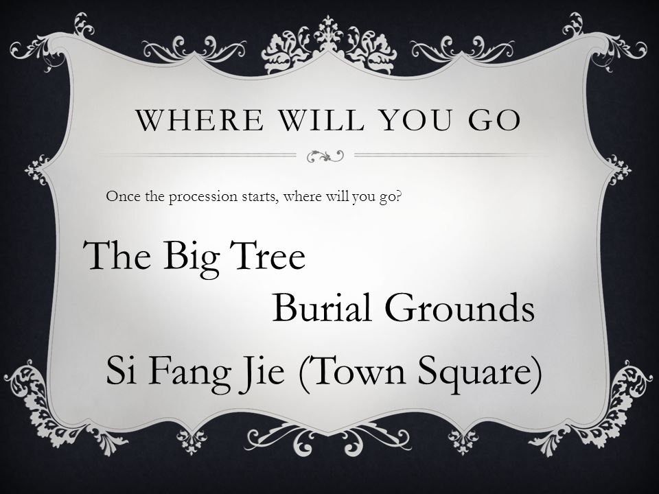 WHERE WILL YOU GO Once the procession starts, where will you go.