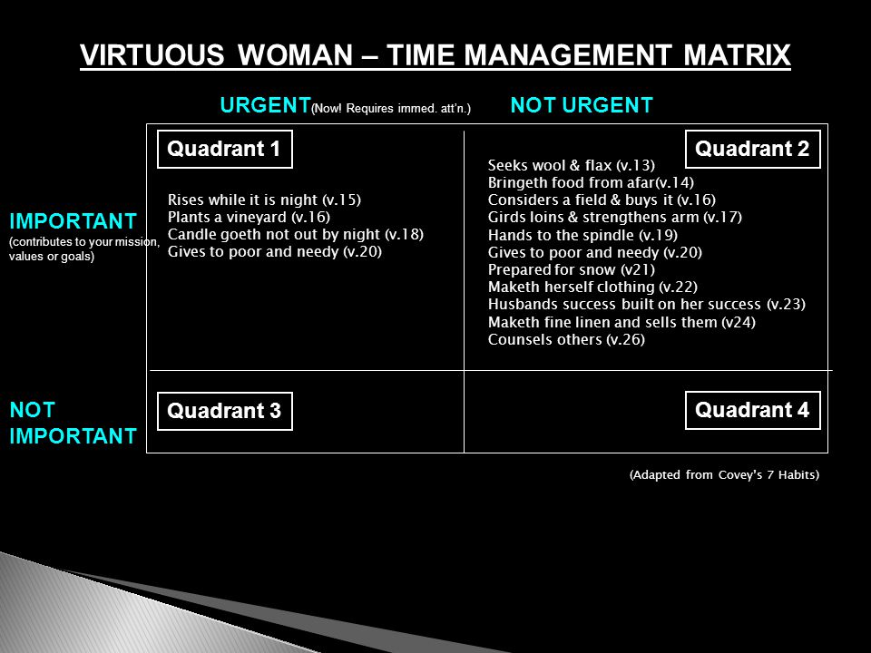 VIRTUOUS WOMAN – TIME MANAGEMENT MATRIX URGENT (Now! Requires immed. att'n.) NOT URGENT IMPORTANT (contributes to your mission, values or goals) NOT I