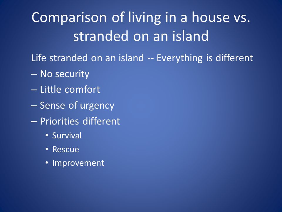 Comparison of living in a house vs.