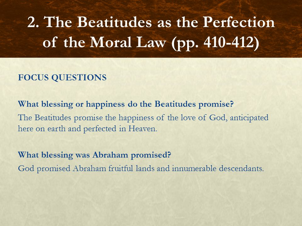 FOCUS QUESTIONS What blessing or happiness do the Beatitudes promise.
