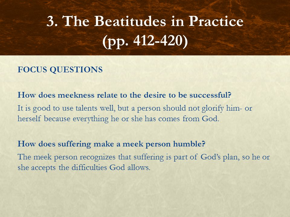 FOCUS QUESTIONS How does meekness relate to the desire to be successful.