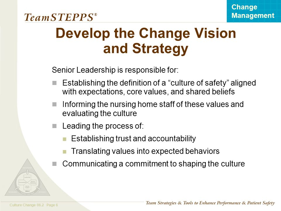 T EAM STEPPS 05.2 Culture Change 06.2 Page 6 Change Management ® Develop the Change Vision and Strategy Senior Leadership is responsible for: Establis