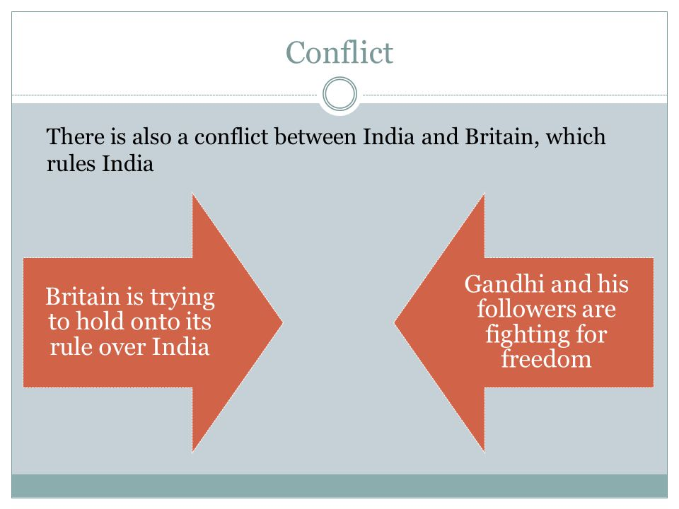 Conflict Britain is trying to hold onto its rule over India Gandhi and his followers are fighting for freedom There is also a conflict between India and Britain, which rules India