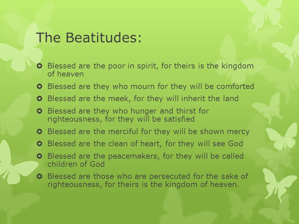 As a group, work together to answer questions on assigned Beatitude.