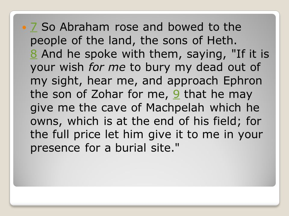 7 So Abraham rose and bowed to the people of the land, the sons of Heth.