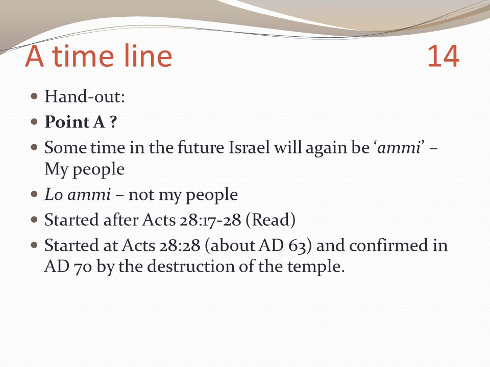 A time line 14 Hand-out: Point A .