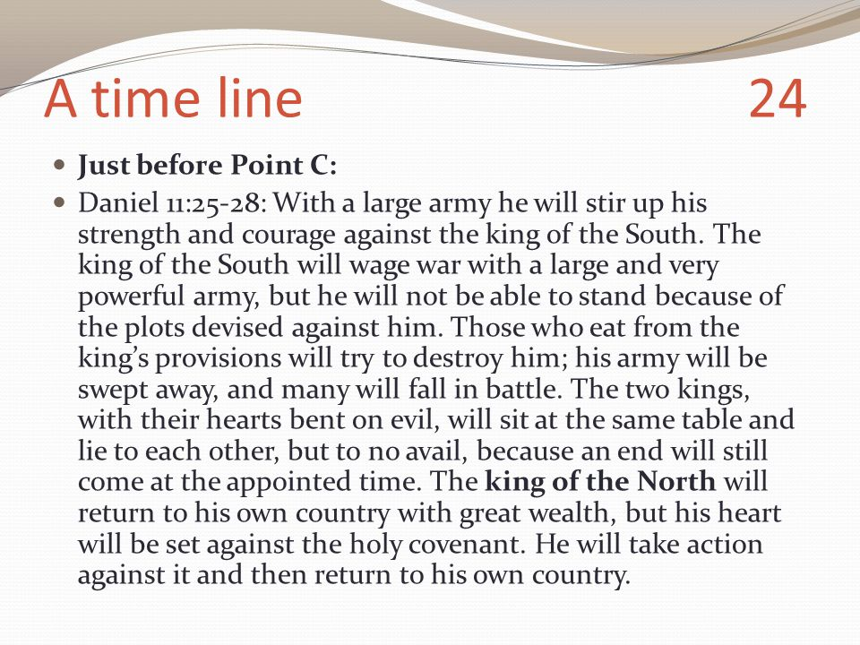 A time line 24 Just before Point C: Daniel 11:25-28: With a large army he will stir up his strength and courage against the king of the South.