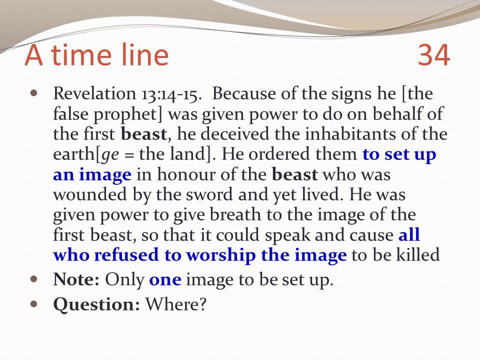 A time line 34 Revelation 13:14-15.