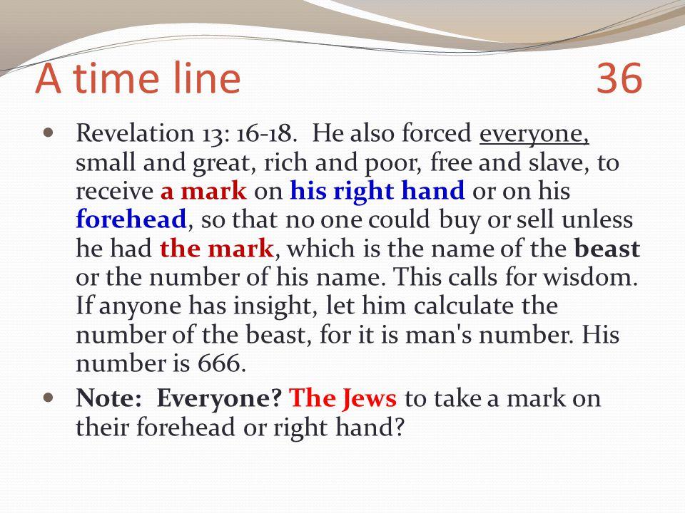 A time line 36 Revelation 13: 16-18.