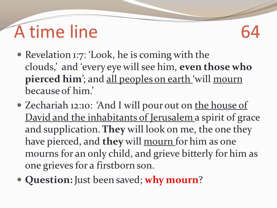 A time line 64 Revelation 1:7: 'Look, he is coming with the clouds,' and 'every eye will see him, even those who pierced him'; and all peoples on earth 'will mourn because of him.' Zechariah 12:10: 'And I will pour out on the house of David and the inhabitants of Jerusalem a spirit of grace and supplication.