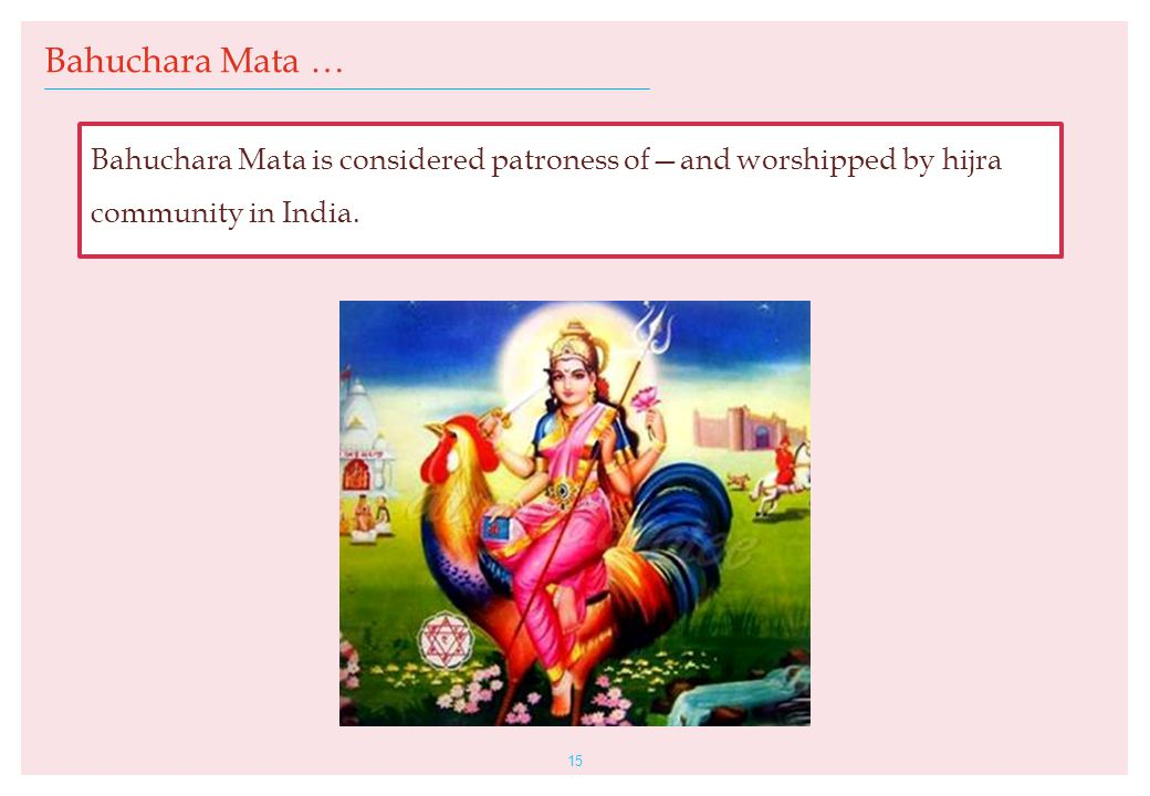 15 Bahuchara Mata … Bahuchara Mata is considered patroness of—and worshipped by hijra community in India.