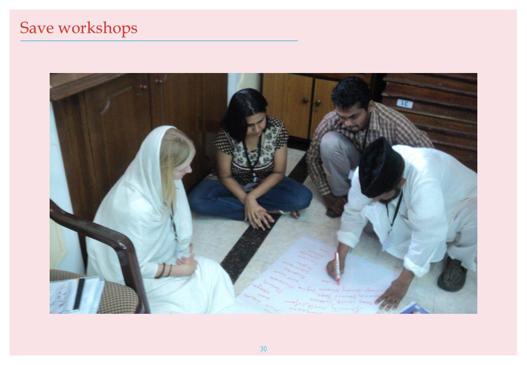 30 Save workshops