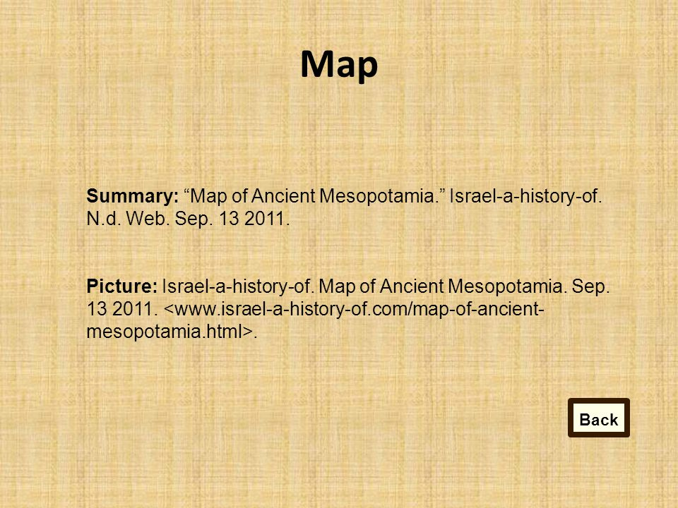 Map Summary: Map of Ancient Mesopotamia. Israel-a-history-of.