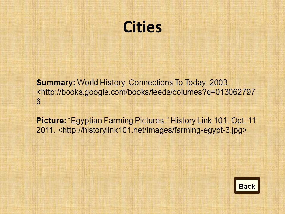 Cities Summary: World History.Connections To Today.