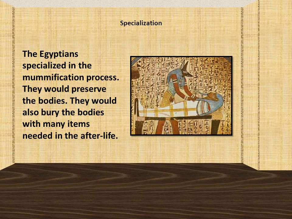 Specialization The Egyptians specialized in the mummification process.