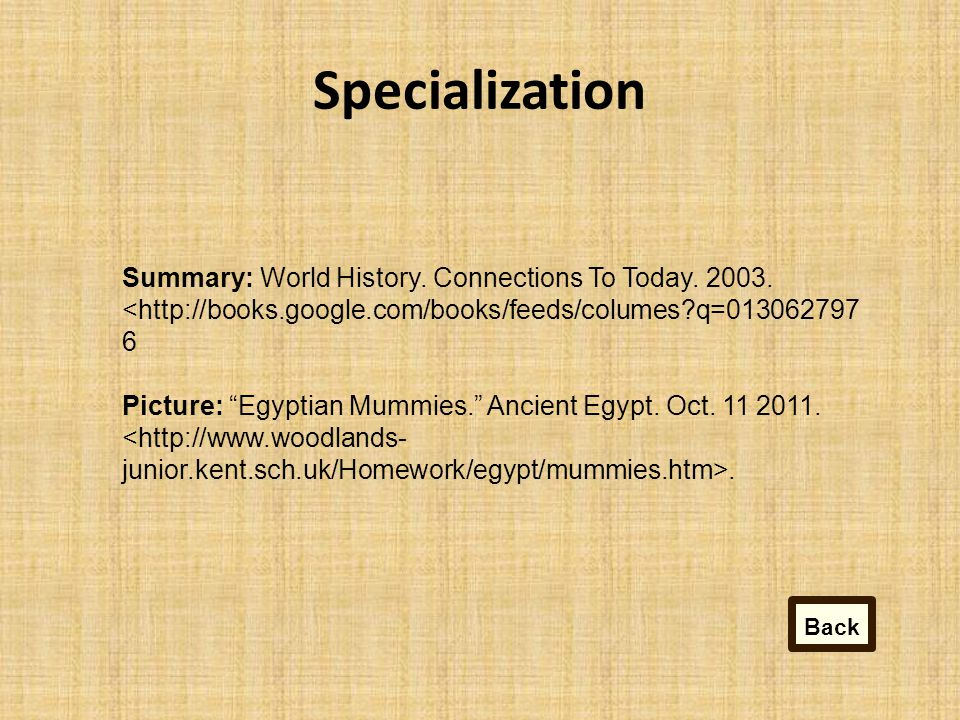 Specialization Summary: World History.Connections To Today.