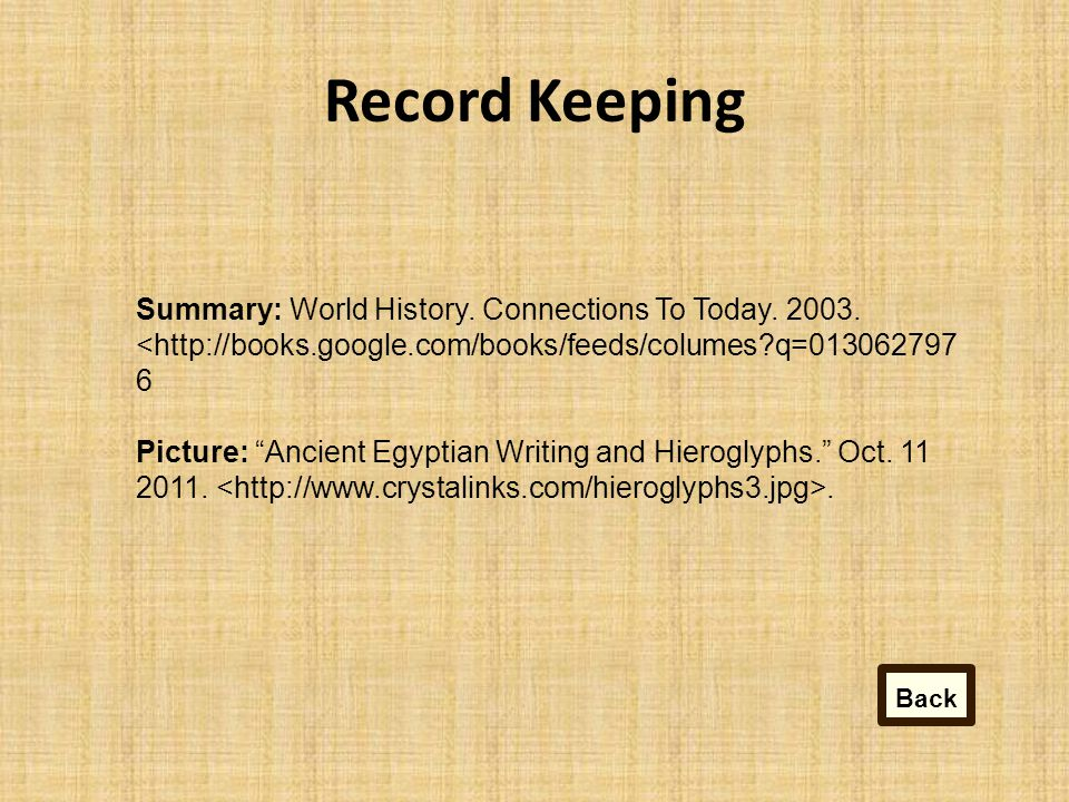 Record Keeping Summary: World History.Connections To Today.