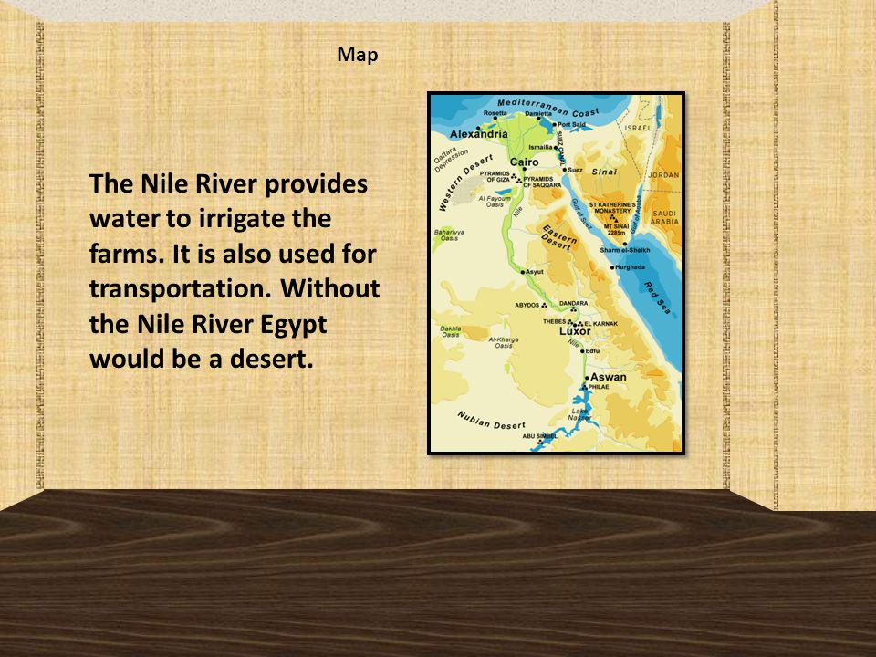 Map The Nile River provides water to irrigate the farms.