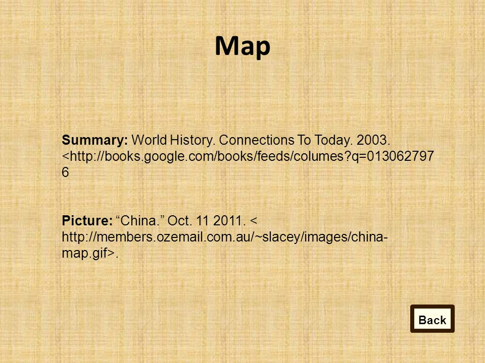 Map Summary: World History.Connections To Today. 2003.